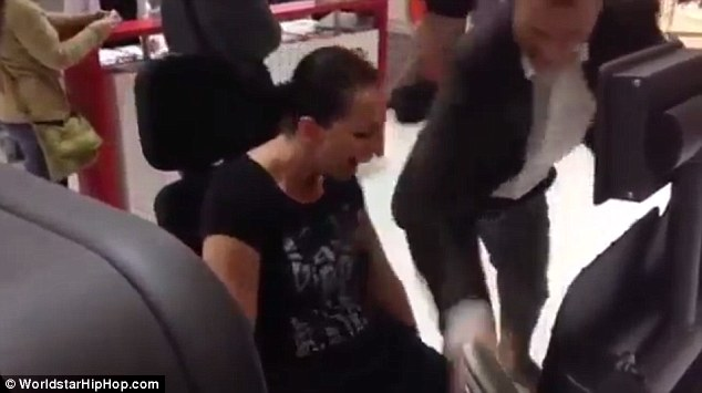 The unidentified woman screams in agony as her leg bone snaps. She was using a leg press machine at the gym, in which she was pushing away weights with her leg muscles