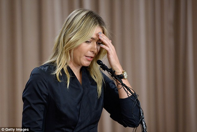Shamed: Sharapova revealed that she failed a drugs test at the 2016 Australian Open after testing positive for meldonium at a press conference Monday (pictured). A study found that use of Meldonium was